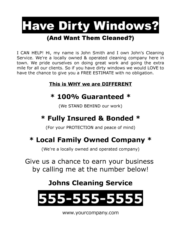 Window washing business plan